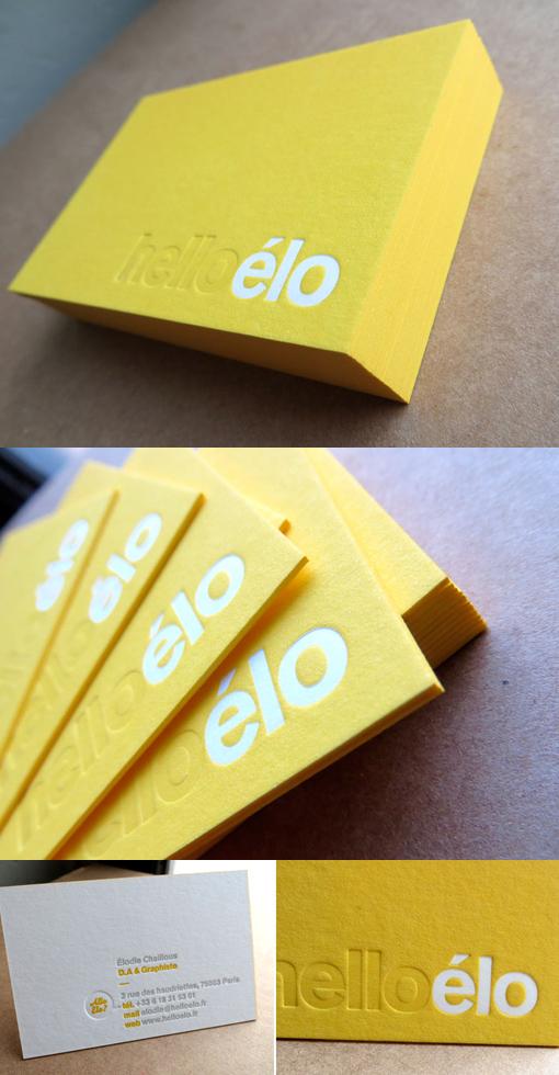 Yellow Letterpress Business Card