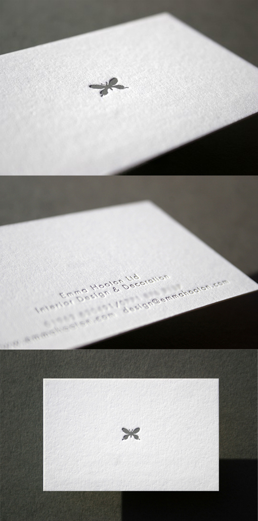 Minimal Design Letterpress Business Card For An Interior Designer