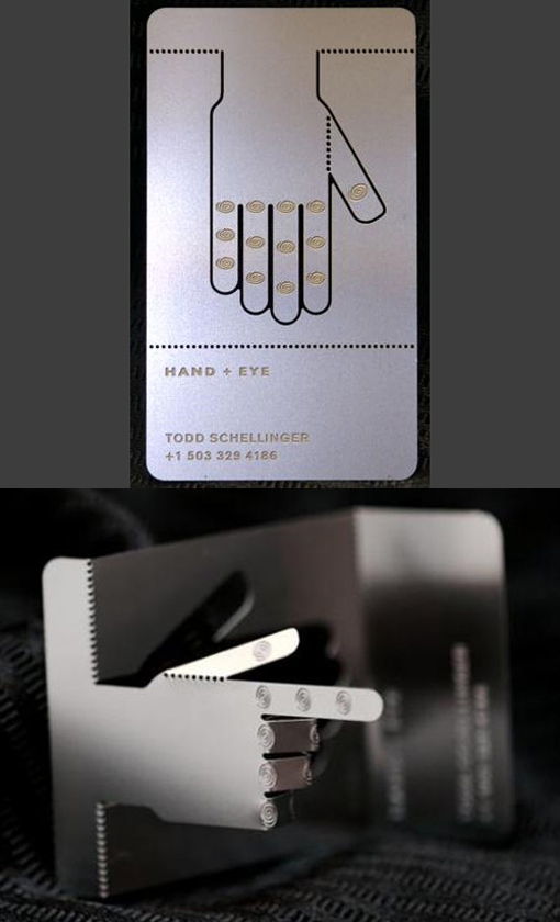 Creative Articulated Laser Cut Metal Business Card