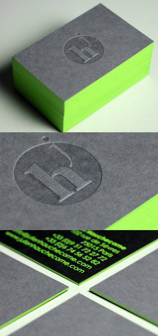 Eye Catching Black Letterpress Business Card With Neon Green Edge ...