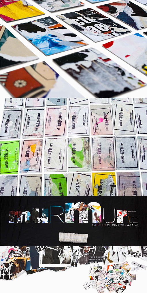 DIY Hand Stamped Business Card Made From Recycled Street Posters