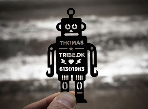 Awesome Laser Cut Robot Stencil Business Card Design