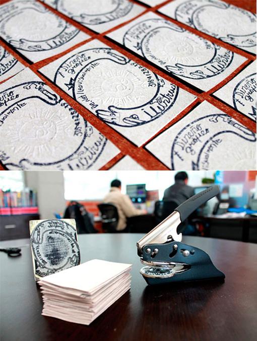 Handmade Stamped Letterpress Effect Business Card