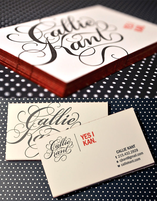 Beautiful Hand Drawn Typography On An Edge Painted Business Card