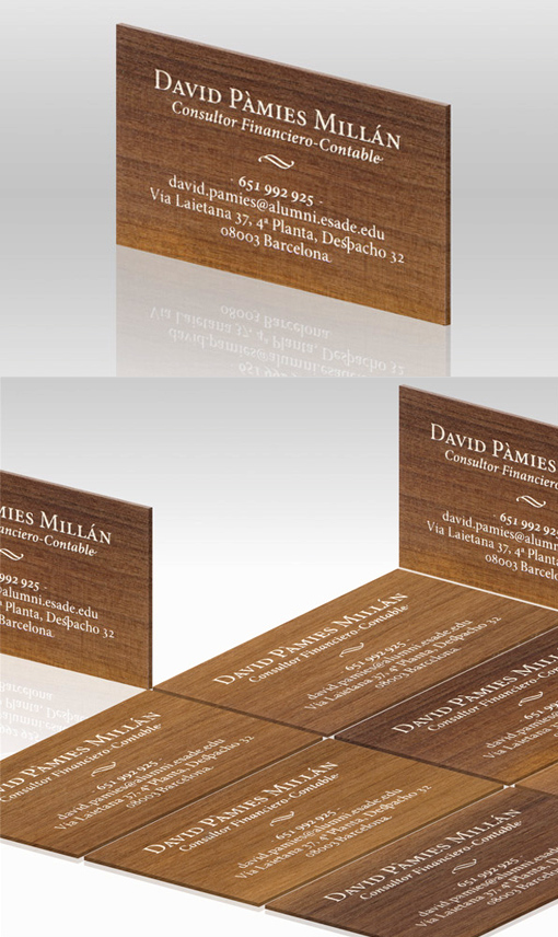 Sleek Screen Printed Wood Business Card Design For A Financial Consultant