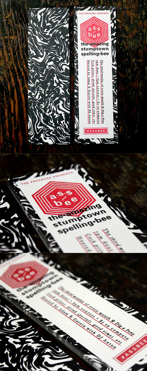 Slimline Black And White Letterpress Business Card
