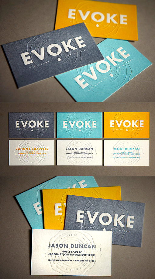Stylish Embossed Letterpress Business Card Design