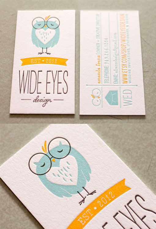 Whimsical Illustrated Letterpress Business Card For A Designer