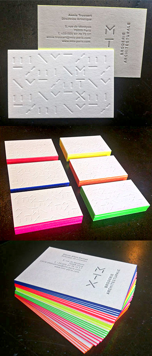 Bright Neon Textured Edge Painted Letterpress Business Card For An Architect