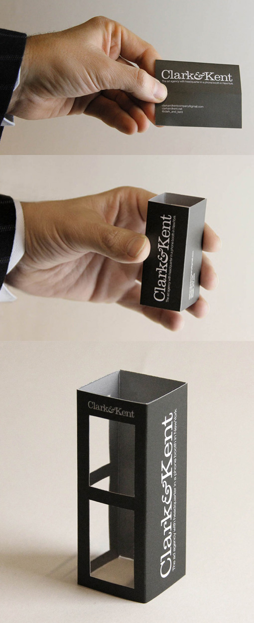Clever 3D Folding Phone Booth Business Card Design For An Advertising Agency