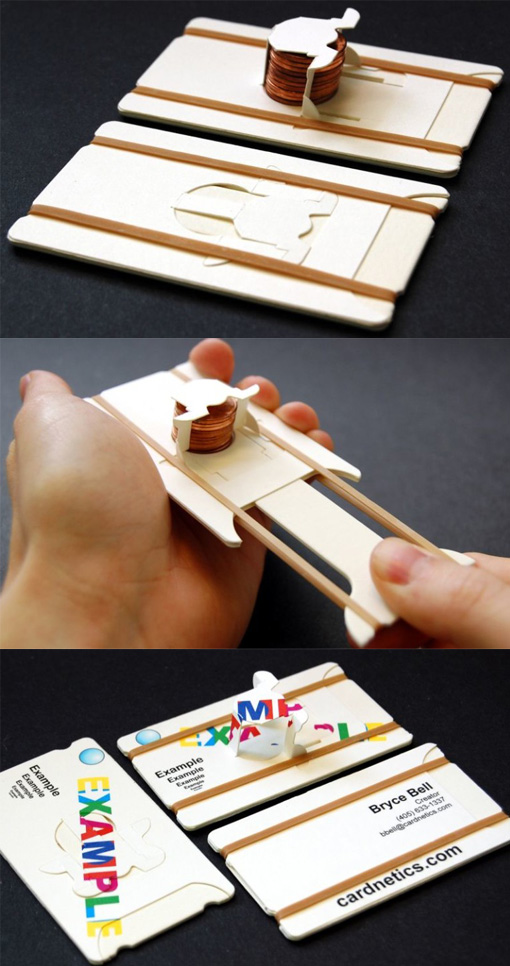 Clever Interactive Penny Shooter Business Card Design