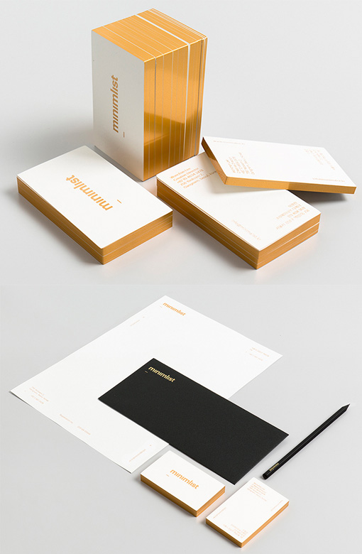 minimalist design gold edge painted business card cardobserver