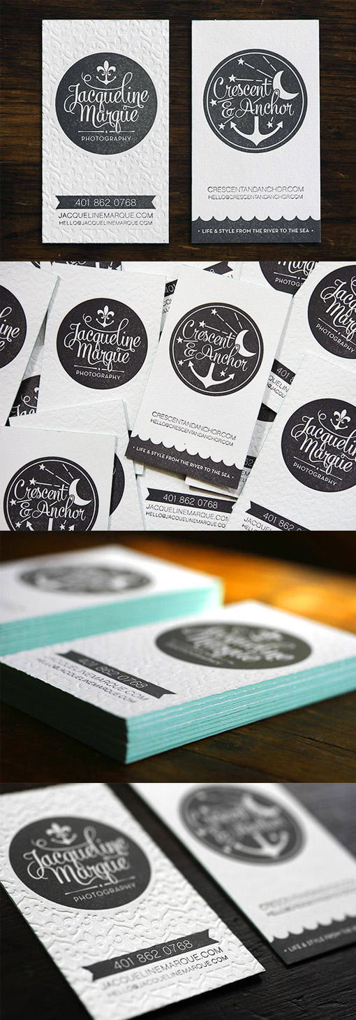 Black And White Textured Edge Painted Letterpress Business Card