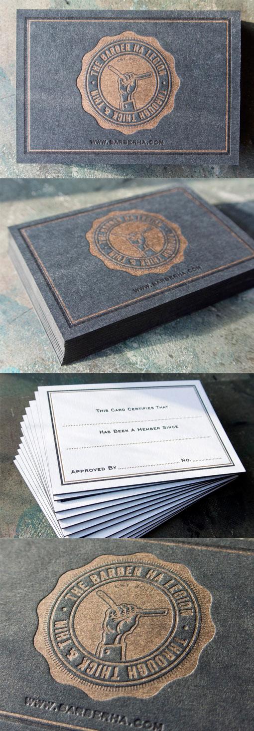 Bold Black And Gold Letterpress Business Card Design