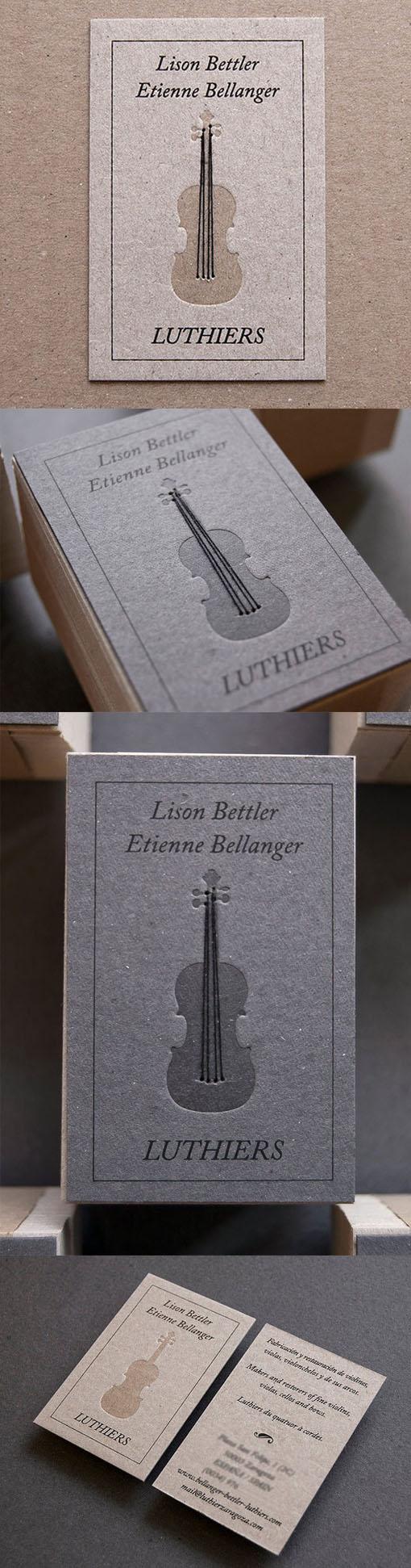 Clever Strung Violin Letterpress Business Card For An Instrument Maker