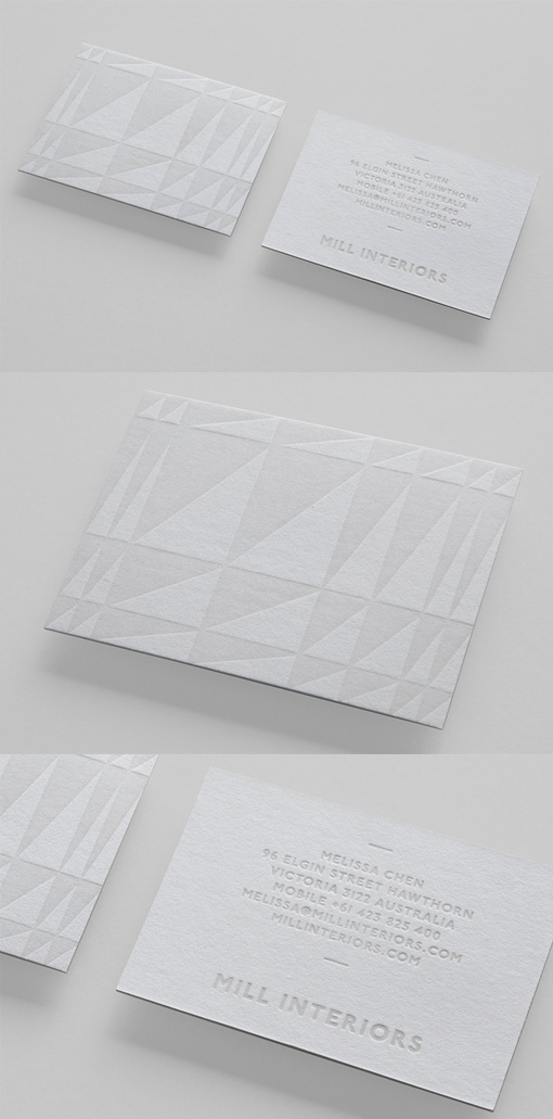 Beautiful Subtle Textured White On White Business Card Design For An Interior Designer