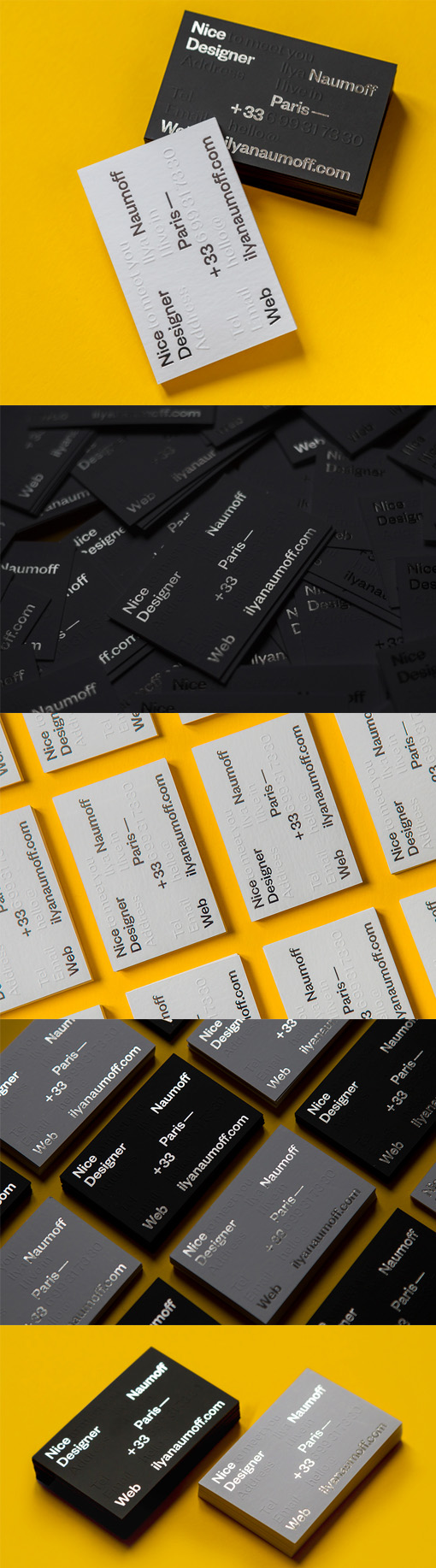 Bold Silver Foil On Black Business Card For A Graphic Designer