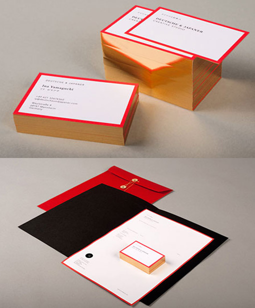 Rich Red And Gold Foil Edge Painted Business Cards For A Creative Agency
