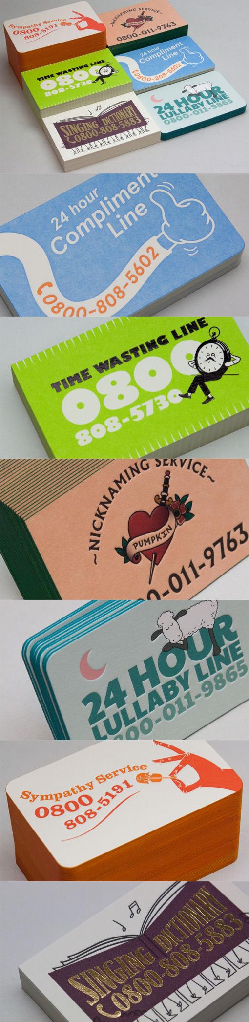 Humorous Vintage Style Fictional Phone Line Letterpress Business Card Design