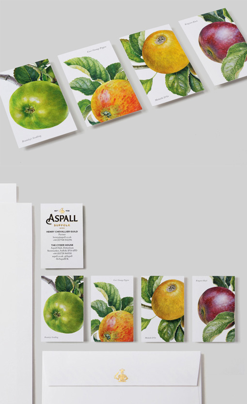 Beautiful Botanic Illustration Business Cards For A Cider Company