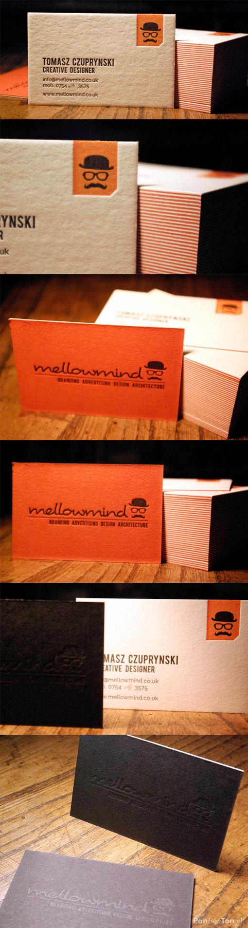 Striking Orange And Black Letterpress Business Card Design