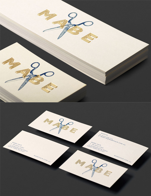 Vintage Imagery And Gold Foil Business Card For A Hairdresser
