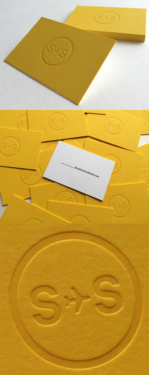 Embossed Logo On A Bright Yellow Business Card For A Social Media Agency