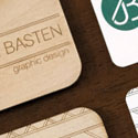 Business Cards For A Graphic Designer Printed On Paper And Laser Cut On Wood