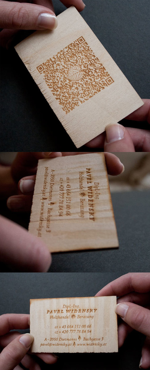 Clever Laser Cut Wooden Business Card With QR Code| CardObserver