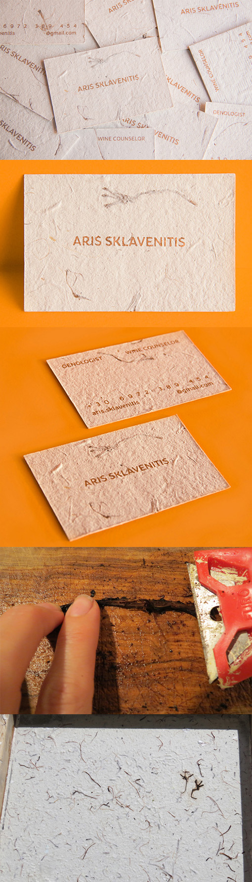Business Cards For A Wine Expert Printed On Handmade Paper From Grape Stalks