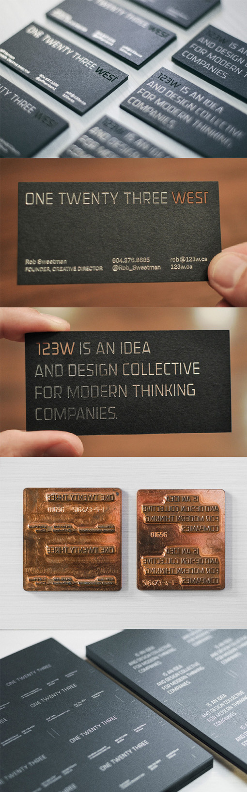 Clever Laser Cut Logo On A Silver Foiled Black Business Card