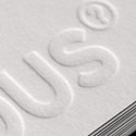Deeply Embossed White Letterpress Business Card Design
