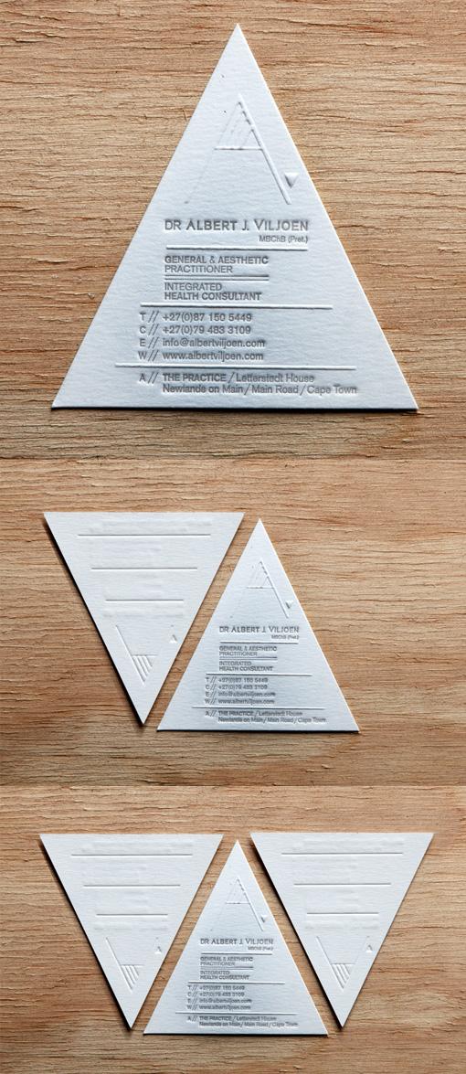 Unusual Custom Die Cut Letterpress Business Card For A Doctor