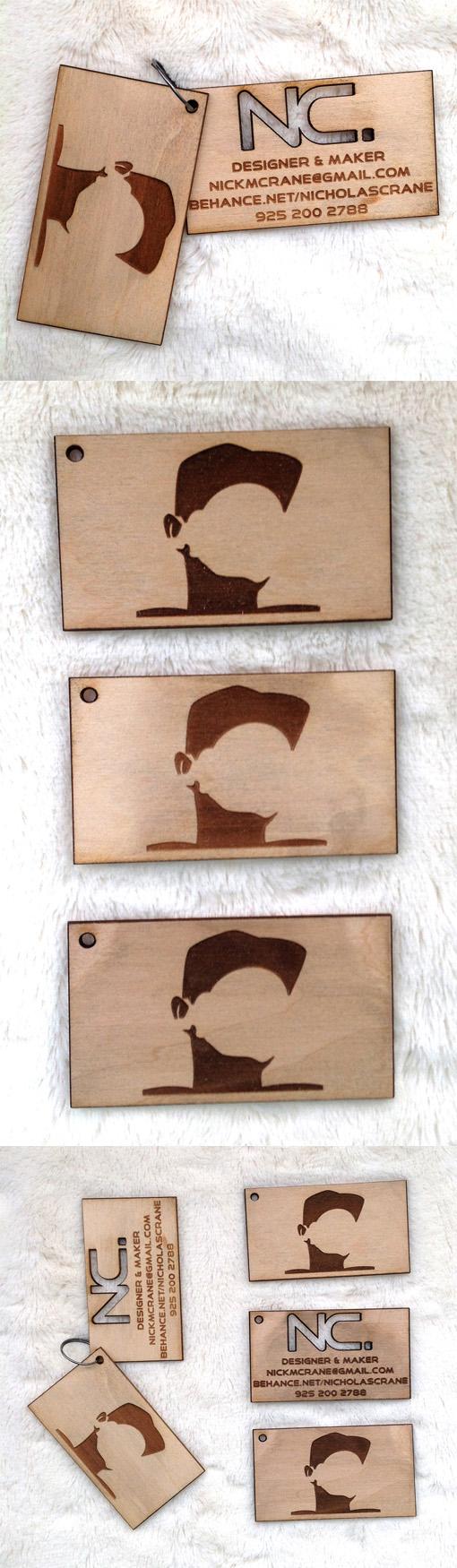 Laser Cut And Etched Wooden Business Card Design For A Designer